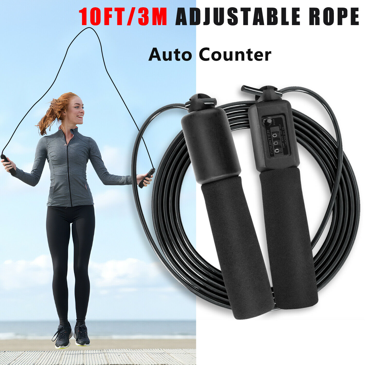 Jump Rope Counter Adjustable Bearing Speed Skipping Gym Fitness Crossfit Boxing//