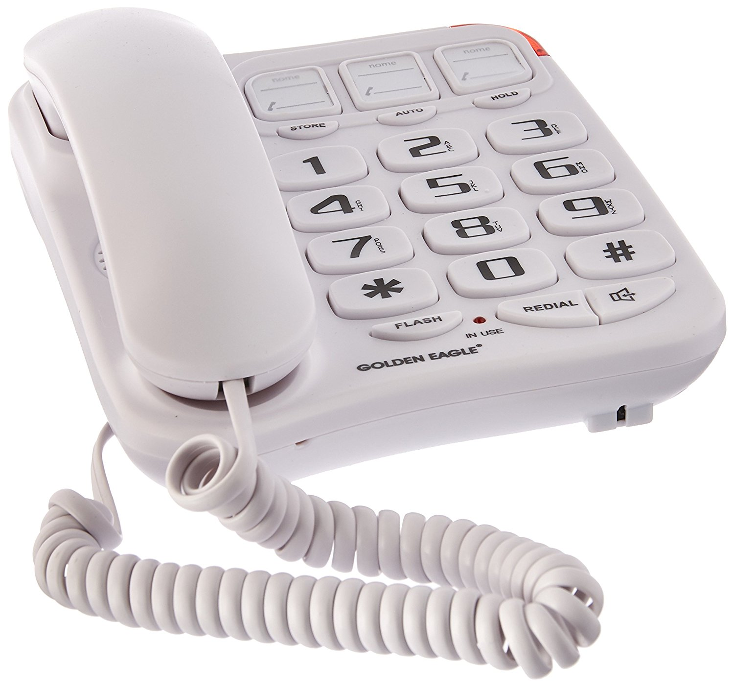 Handset Landline Telephone (GE3104WH), Built in speakerphone By Golden Eagle
