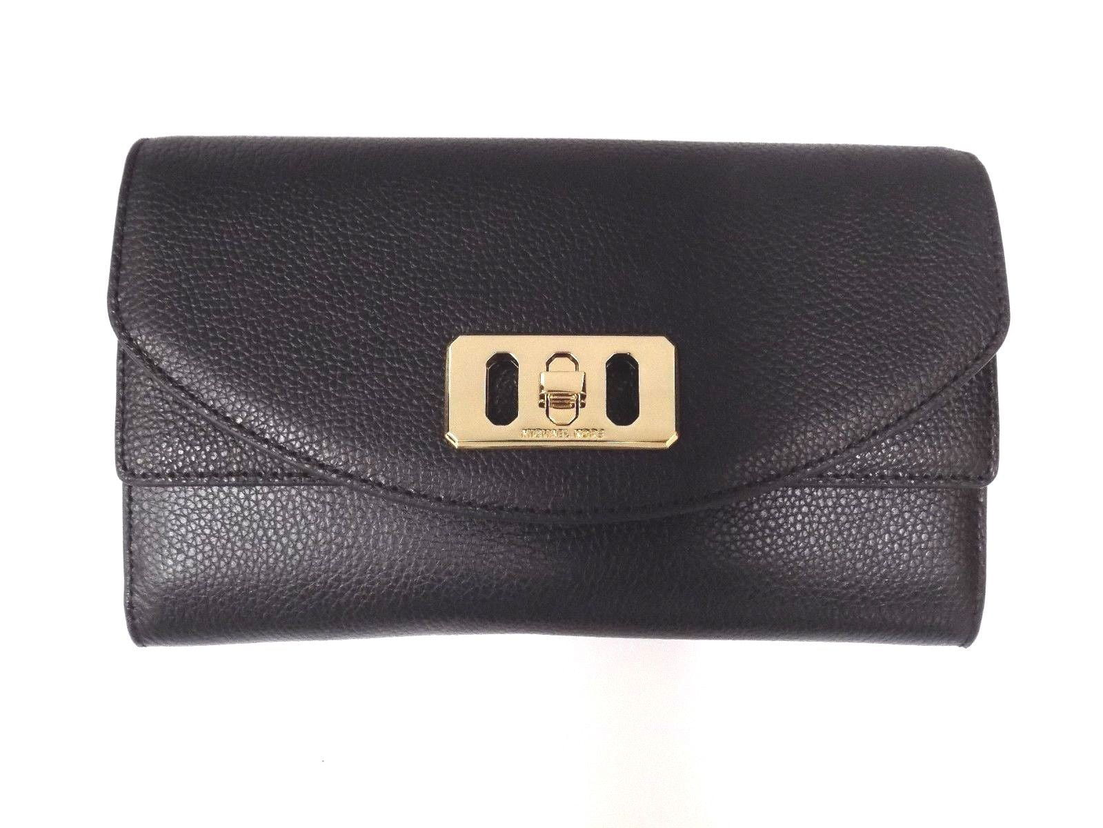 1e216270914 Michael Kors - NEW MICHAEL KORS KARSON BLACK PEBBLED LEATHER TRAVEL WALLET  CLUTCH CROSSBODY BAG - Walmart.com