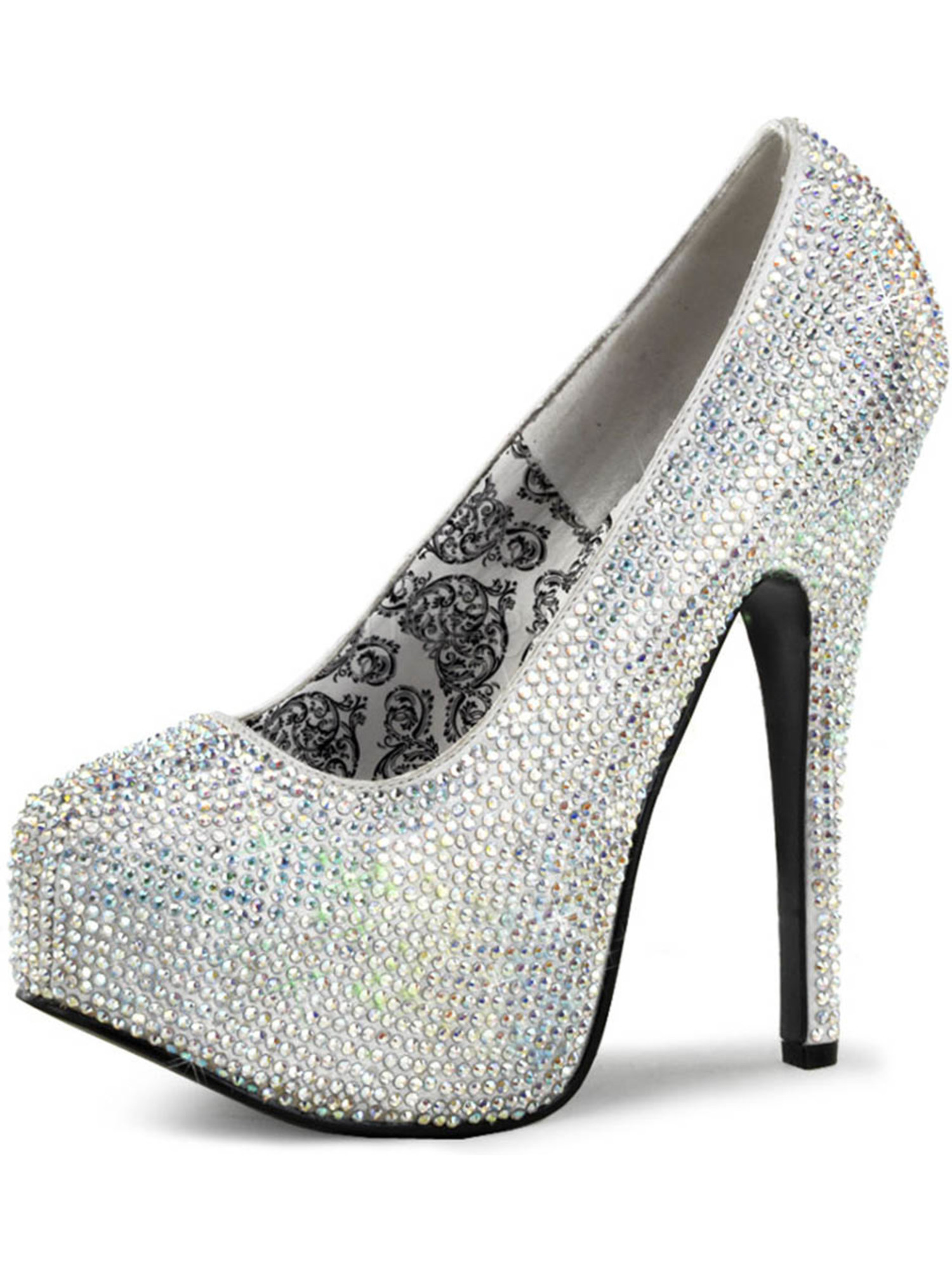 Sparkling Silver Rhinestone Pumps with Inch Concealed Platform and 5.75 Inch with Heels d4fd59