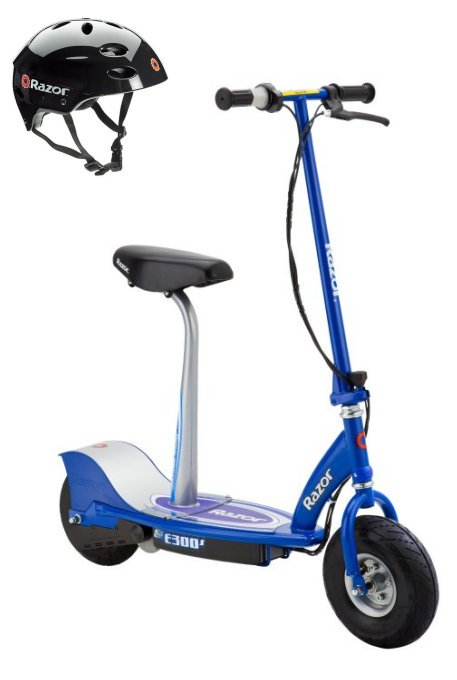 Razor E300S Seated Electric Motorized Scooter (Blue) & Youth Helmet (Black) by Razor