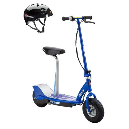 Blue Connect A Scooters - Razor E300S Seated Electric Motorized Scooter (Blue) & Youth Helmet (Black)