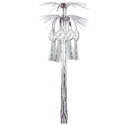 Pack of 12 25th Wedding Anniversary Silver Metallic Cascade Hanging Column Party Decorations 3' Cascade Hanging Column Decoration