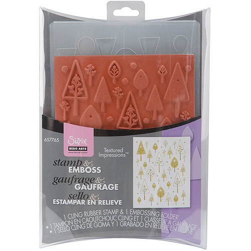Sizzix Textured Impressions Embossing Folders and Stamp Set, Hero Arts Birds 'n' Trees