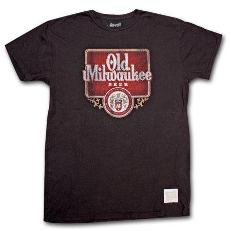 Licensed Old Milwaukee Beer (Old Milwaukee Distressed Vintage Retro Black T Shirt )