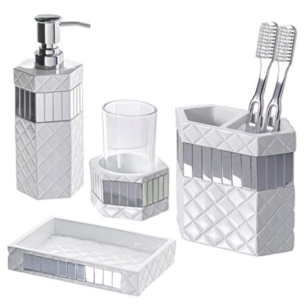Creative Scents Quilted Mirror Bathroom, Bathroom Soap Dispenser And Toothbrush Holder