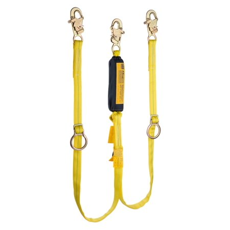 Msa Workman Twin Leg Shock Absorbing Lanyard With Lc Harness Connection And Two Lc Anchorage Connections