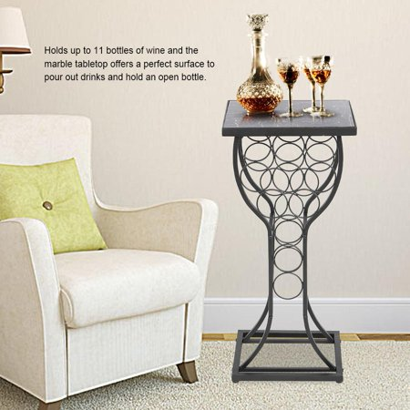 Marble Top Wine Rack (Anauto Furniture Metal with Marble Finish Top Table with  Wine Storage Organizer Rack Holder Display, Table with Wine Storage Organizer)