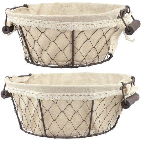 Set of 2 Round Wire Baskets with Fabric