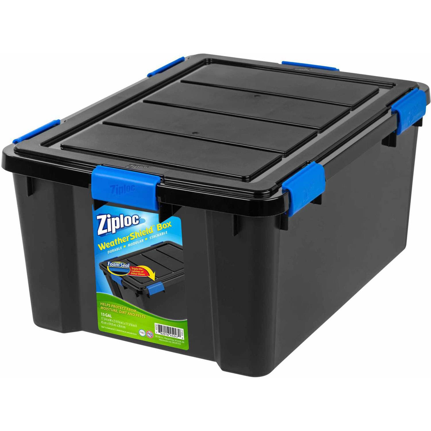 Ziploc 60 Qt. WeatherShield Storage Box, Black