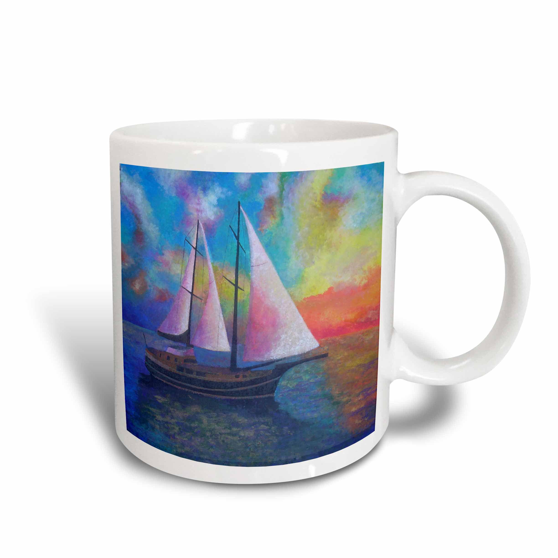3dRose Bodrum Gulet Cruise- blue, boats, impressionism, orange, realism, sailboat, sails, Ceramic Mug, 11-ounce