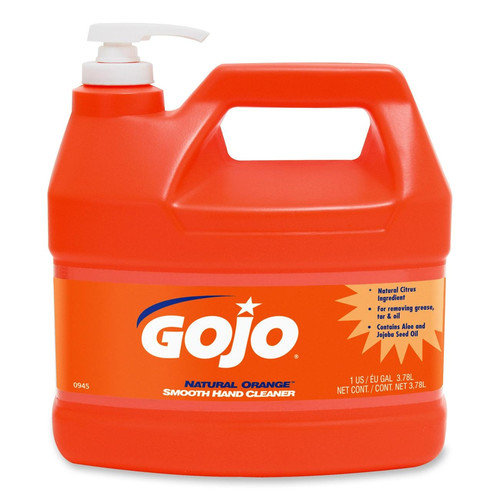 GOJO Industries NATURAL ORANGE Smooth Hand Cleaner, 1 Gal, Pump Dispenser, Citrus Scent, 4/CT