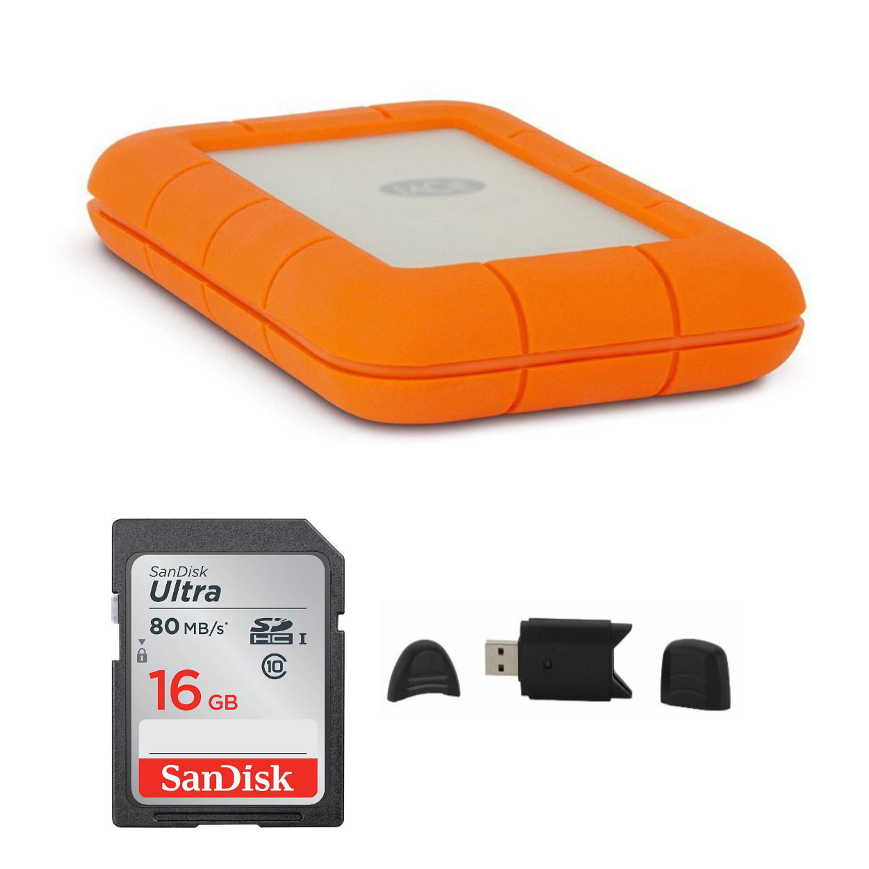 LaCie Rugged USB-C 1TB Portable Hard Drive with 16GB SD Card Bundle
