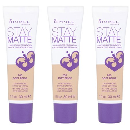 (3 Pack) RIMMEL Stay Matte Liquid Mousse Foundation - Soft Beige
