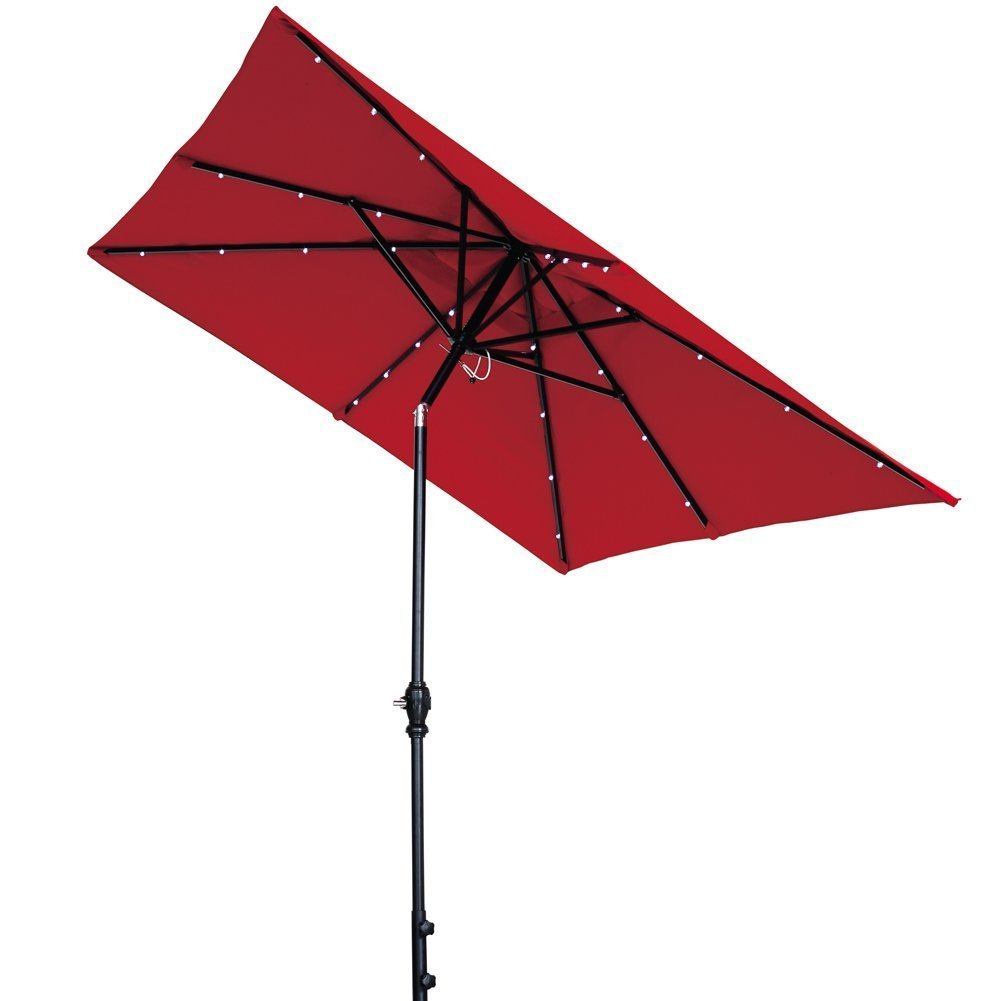 Abba Patio 7 by 9-Ft Rectangular Patio Umbrella with 32 Solar Powered LED Lights with Push... by Abba Patio