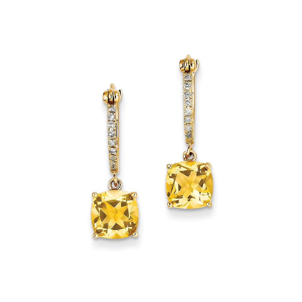 14k Yellow Gold 0.8IN Long Diamond & Citrine Dangle Hoop Earrings