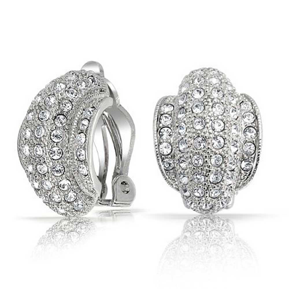 Bling Jewelry 6 Row Clear Crystal Half Hoop Clip On Earrings Silver Plated