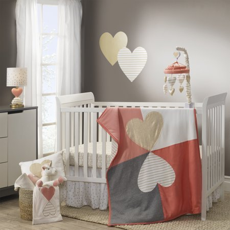 Lambs Ivy Dawn 4 Piece Crib Bedding Set Pink Gray White Hearts Modern