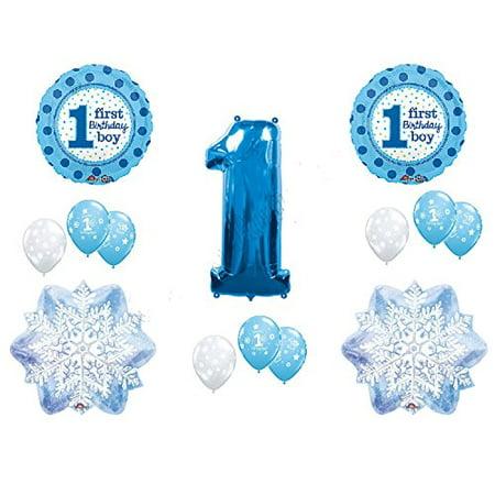 WINTER WONDERLAND 1derland BIRTHDAY party BALLOON set 14pieces BOY blue SNOWFLAKE one-derland - Winter Wonderland Blue