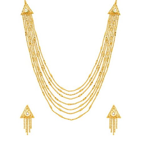 fe130434427cd Traditional Brass with Yellow Gold Plated Kundan Necklace Sets for Women
