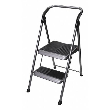 2 Steps, Steel Step Stool, 250 lb. Load Capacity, Gray WERNER S322B-4