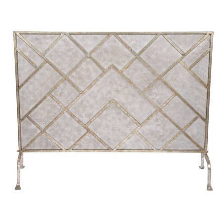 Old World Design Geometric Fireplace Screen Champagne