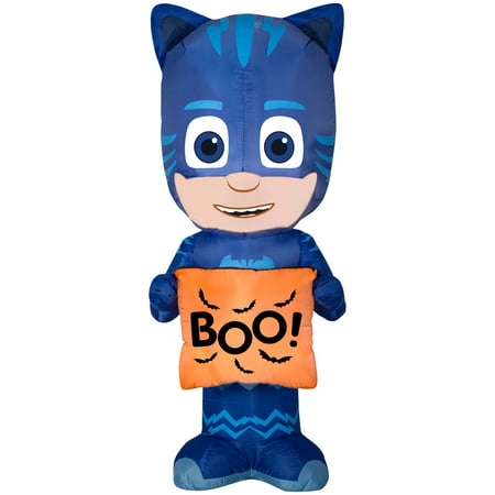 Halloween Airblown Inflatable PJ Masks Catboy with Treat Bag 5FT Tall by Gemmy Industries (Discount Halloween Decor)