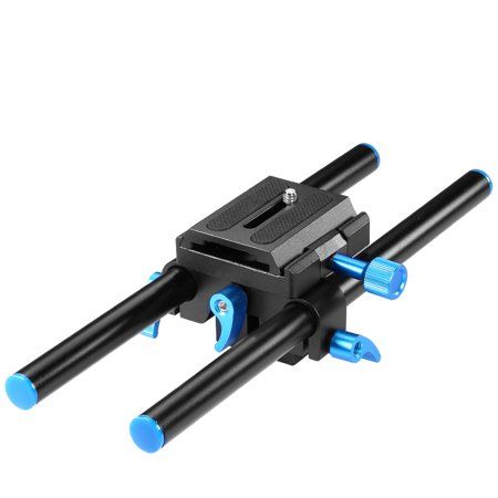 Neewer Universal Aluminum 15mm Rail Rod Support System High Riser DSLR Camera Mount Baseplate 9.8