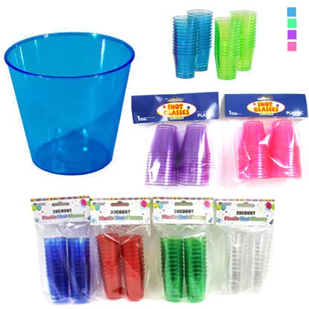 20 Shot Glasses Hard Plastic 1 Oz Mini Wine Glass Party Cups Barware Catering ! (Bulk Glass Shot Glasses)
