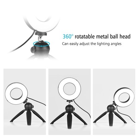 Portable 4.6 Inch LED Ring Light Lamp 3 Light Modes & Dimmable Brightness with Mini Tripod Stand Selfie Ringlight for Vlog YouTube Photo Studio Live Streaming Video Portrait Makeup Photography - image 1 of 7