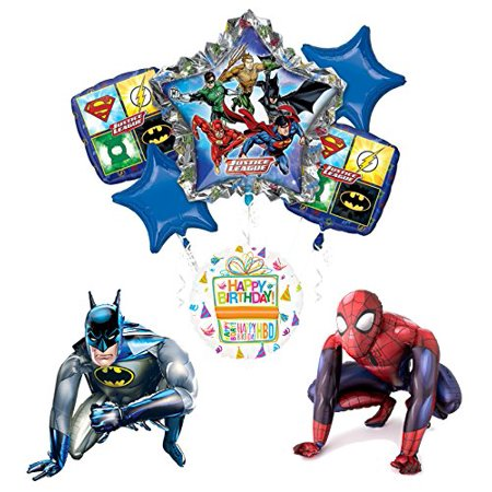 Justice League Party Supplies Batman and Spider-Man Airwalker Balloon Bouquet Decorations - Batman Balloon