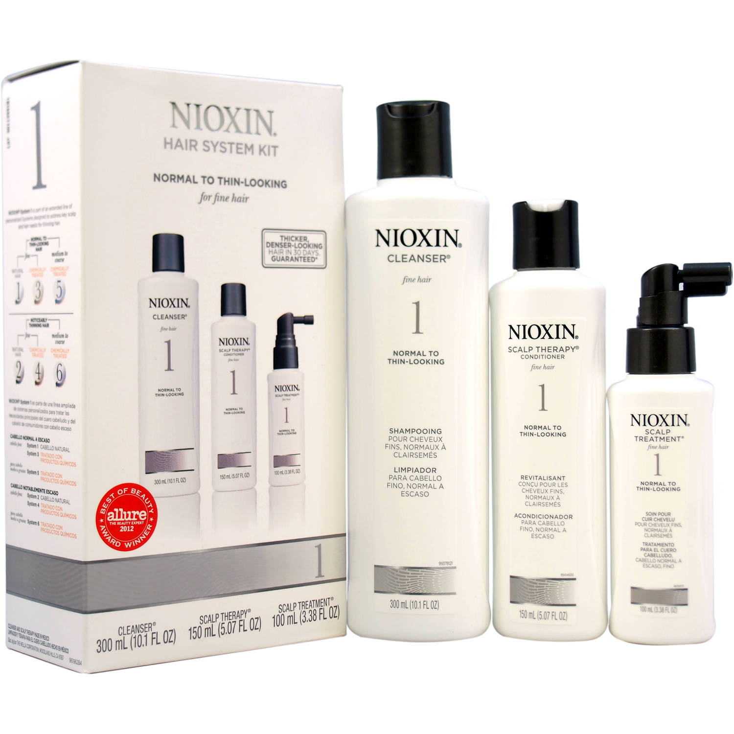 Nioxin System 1 for Fine Natural Normal to Thin Looking Hair Thinning Hair Kit for Unisex, 3 pc