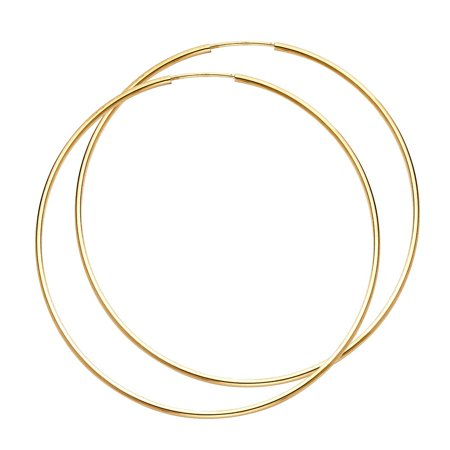 Plain Circle Hoop Endless Extra Large 2 1/4 Inch Real 14k Yellow Gold 1mm Thickness Polish (Circle Hoop)