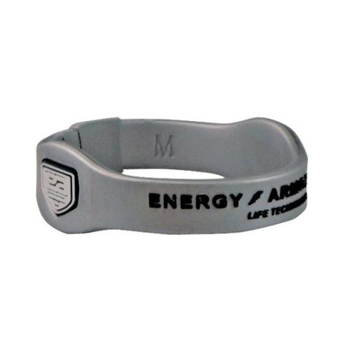 Energy Armor 7-3621173496-9 Extra Large Silver Negative Ion Super Band Bracelet with Black Letters