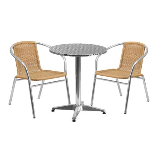 Click here to buy Flash Furniture 23.5-inch Round Aluminum Indoor-Outdoor Table with 2 Beige Rattan Chairs by Overstock.