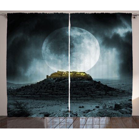 Night Sky Curtains 2 Panels Set, Big Full Moon over a Fantasy Castle on Hill Clouds Rocks Valley View, Window Drapes for Living Room Bedroom, 108W X 84L Inches, Green Black Slate Blue, by Ambesonne ()