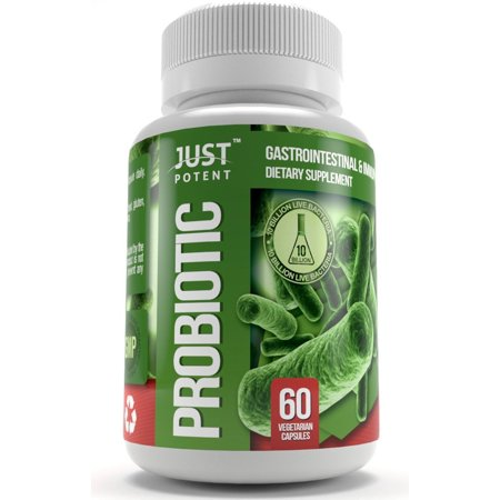 Probiotic Supplement :: 10 Billion CFUs :: 8 Strains :: Shelf Stable :: Survives Stomach Acid :: 60 Vegetarian Capsules for 2 Months Supply,.., By Just Potent
