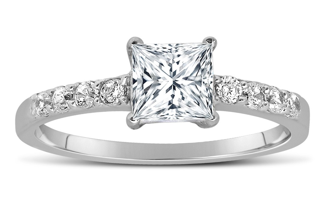 1 Carat Princess cut Diamond Engagement Ring in 10K White Gold by JeenJewels