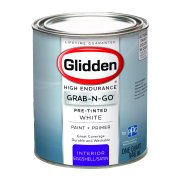Glidden Pre Mixed Ready To Use, Interior Paint and Primer, White, Eggshell Finish, Quart