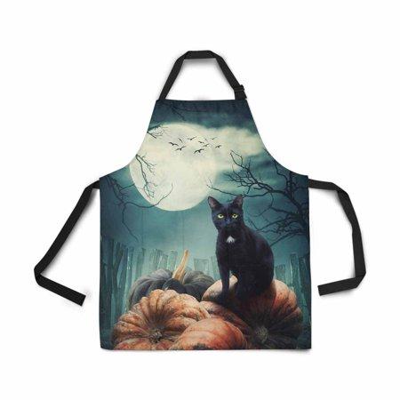 ASHLEIGH Black Cat Pumpkin Full Moon Apron for Women Men Girls Chef with Pockets Adjustable Bib Kitchen Cook Apron for Cooking Baking Gardening Pet Grooming