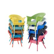 BrylaneHome Roma All-Weather Wicker Stacking Chair w/ free seat&back cushion