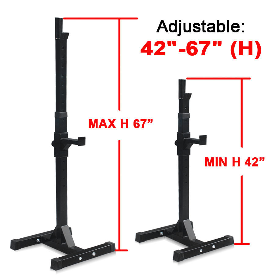 Gizmo Supply Set of 2 Adjustable Standard Solid Steel Squat Stand Gym Barbell Rack Free Bench