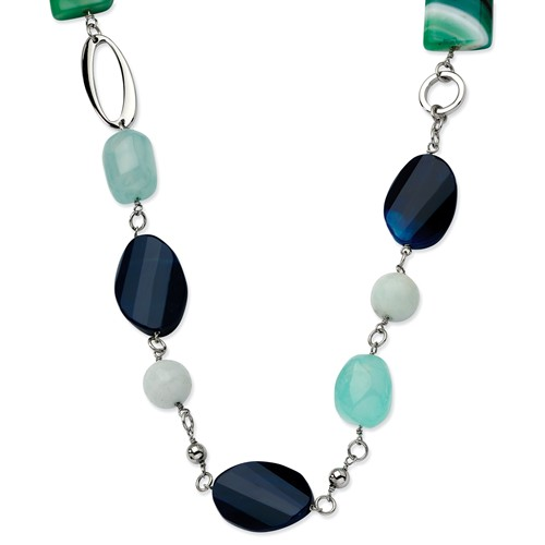 Stainless Steel Green & Black Agate 26 w  1.5in ext. Necklace by Jewelrypot