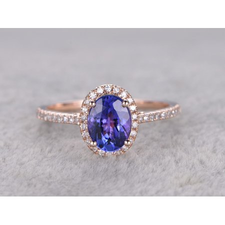 3746a3a186847f JeenMata - Beautiful 1.5 Carat Oval cut Real Tanzanite and Diamond  Engagement Ring in 18k Gold Over Silver - Walmart.com