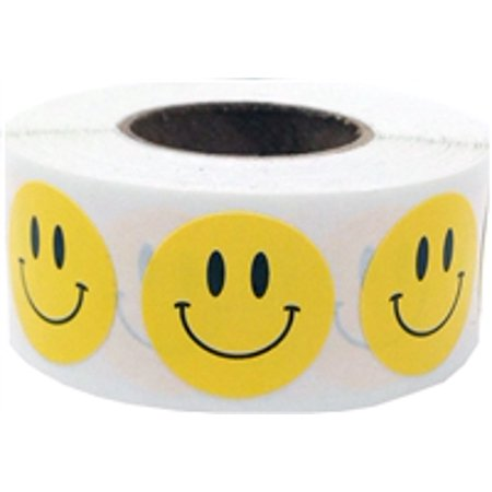Yellow Circle Happy Face Stickers, 0.75 Inch Round, 500