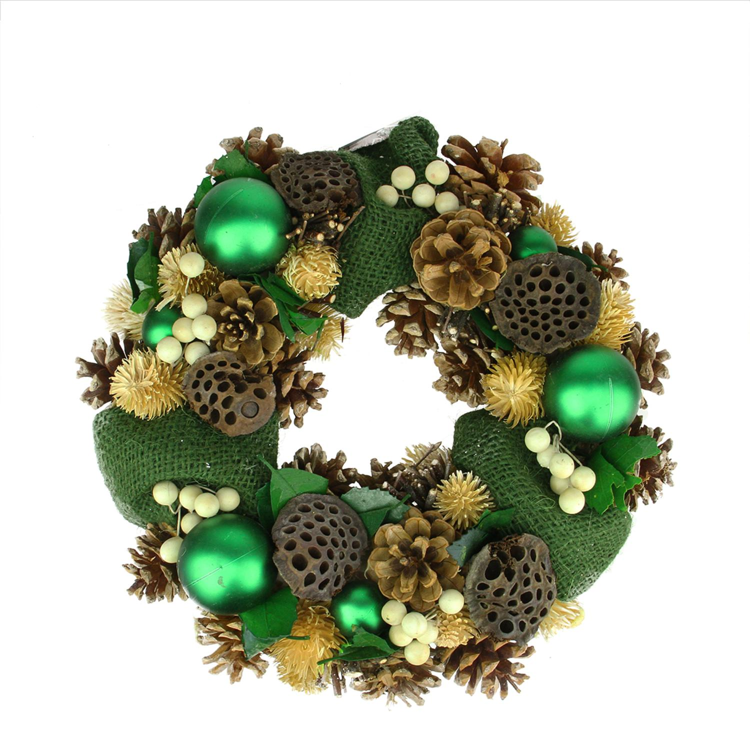 "13"" Green Burlap Pine Cone and Berry Artificial Christmas Wreath - Unlit"