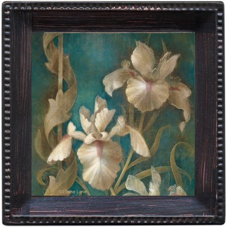 Thirstystone Ambiance Drink Coasters Set, Irises on Teal, Bronze by