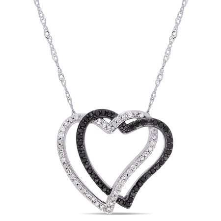 1/4 Carat T.W. Black and White Diamond 10kt White Gold Double Heart Necklace