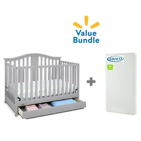 Graco Solano 4 in 1 Convertible Crib with Drawer, Pebble Gray & Premium Foam Crib Mattress