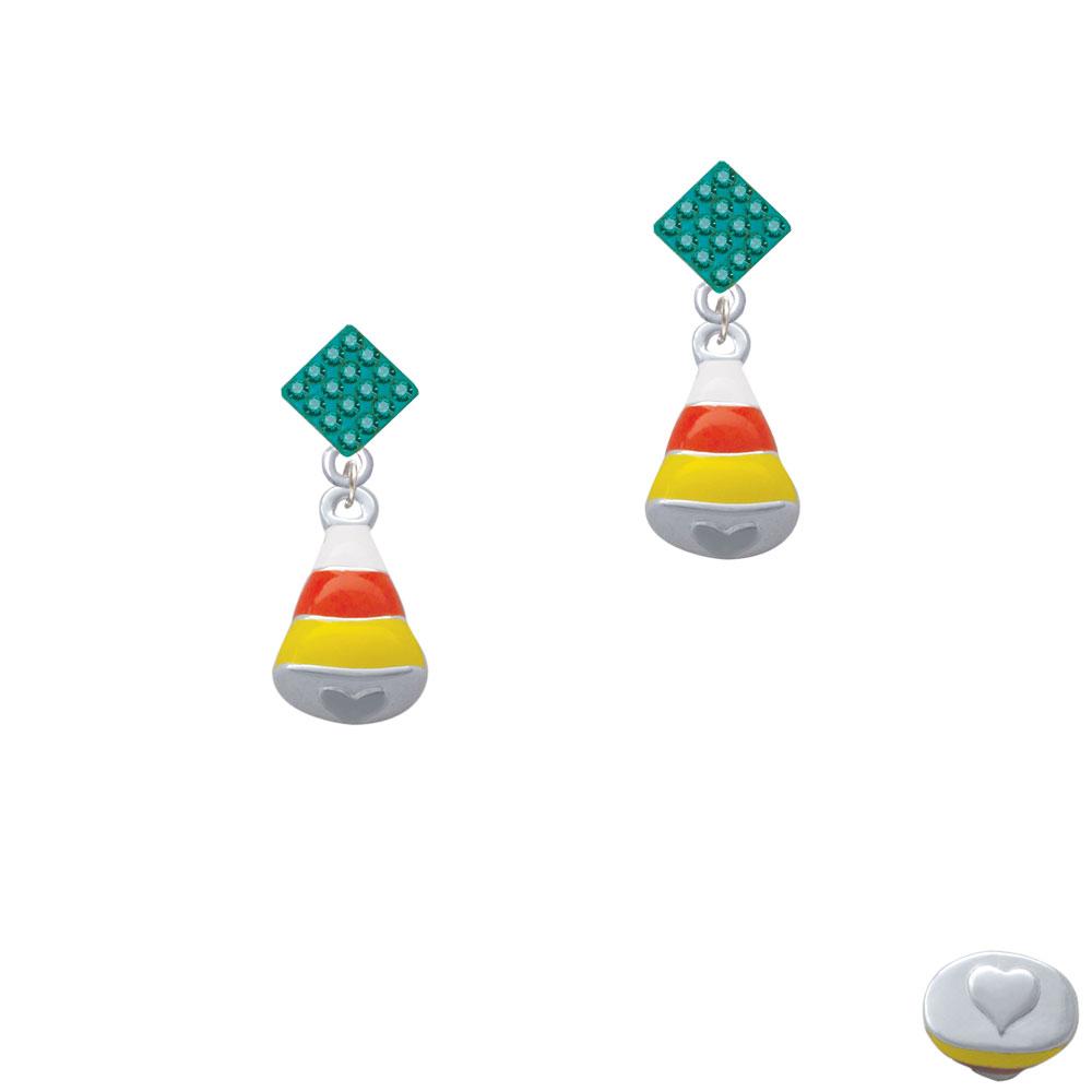 3-D Enamel Candy Corn Teal Crystal Diamond-Shape Earrings